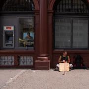 Beggar in Basel, asking for something to eat